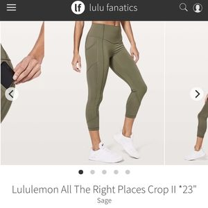 Lulu All The Right Places Crop II In Sage